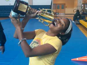during run throughs in the gym at Wise..just messing around
